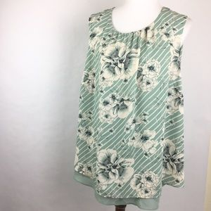 Rose + Olive Blue Floral Layered 1X Tank Top